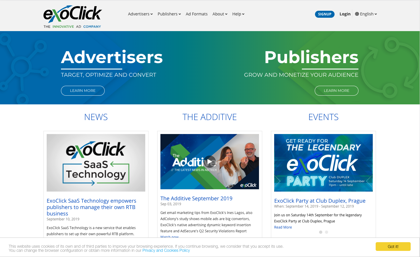 Preview of the ExoClick site